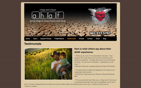 Screenshot of Testimonials Page ahafmemphis.org - A Hope and A Future, Inc.  |  Testimonials - captured Oct. 2, 2014