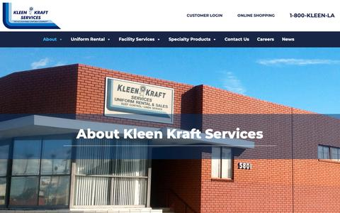Screenshot of About Page kleenkraftservices.com - Kleen Kraft Services Has Been Keeping You Well Dressed Since 1952 - captured Nov. 6, 2018