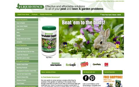 Screenshot of Home Page liquidfence.com - Liquid Fence | Effective and affordable solutions to all of your pest and lawn & garden problems. - captured Oct. 6, 2014