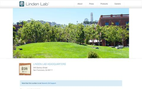 Screenshot of Contact Page lindenlab.com - Contact Us | Linden Lab - captured Sept. 16, 2014