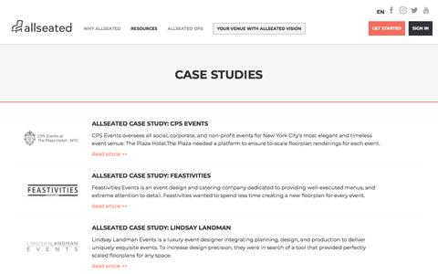 Screenshot of Case Studies Page allseated.com - AllSeated Case Studies For Event Planning and Event Industry - captured Oct. 17, 2019