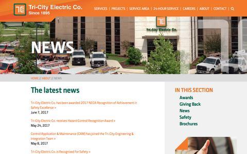 Screenshot of Press Page tricityelectric.com - News   Tri-City Electric - captured Nov. 9, 2017