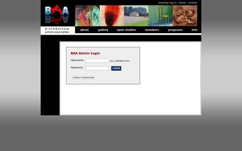 Screenshot of Menu Page brickbottomartists.com - Brickbottom Artists Association    BAA Admin Login - captured March 10, 2016
