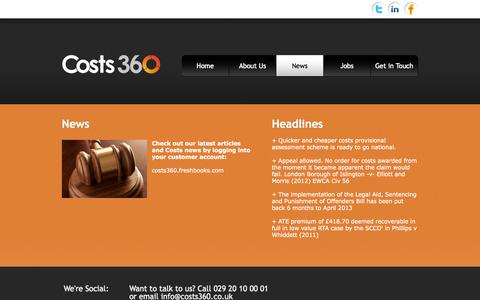 Screenshot of Press Page costs360.co.uk - Costs 360 - News - captured Oct. 3, 2014