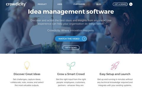 Screenshot of Home Page crowdicity.com - Idea Management Software | Crowdicity - captured Sept. 30, 2018
