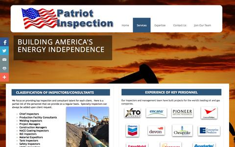 Screenshot of Services Page patriotinsp.com - Services - captured Oct. 2, 2014