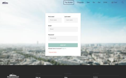 Screenshot of Signup Page parisianist.com - Sign up | Parisianist - captured July 6, 2016