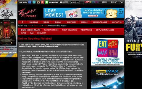 Screenshot of FAQ Page tgv.com.my - TGV Cinemas - Online Booking Related - captured Oct. 29, 2014