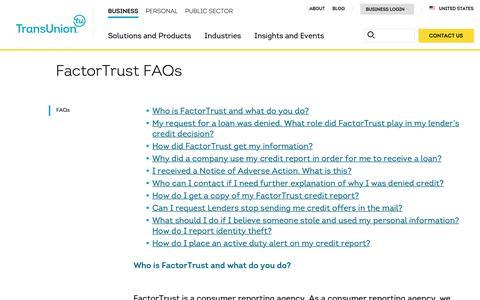 Screenshot of Support Page transunion.com - FactorTrust Consumer FAQs | TransUnion - captured Feb. 20, 2019