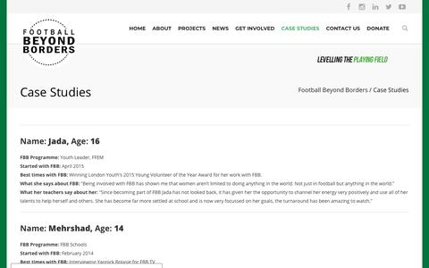 Screenshot of Case Studies Page footballbeyondborders.org - Case Studies - Football Beyond Borders - captured Aug. 19, 2018