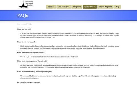 Screenshot of FAQ Page pallottinerenewal.org - FAQs | Pallottine Renewal Center - captured Jan. 25, 2016