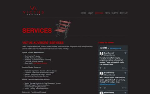 Screenshot of Services Page victusadvisors.com - Market research, financial/economic analysis and other strategic planning services related to sports and entertainment venues and events - captured Dec. 21, 2016