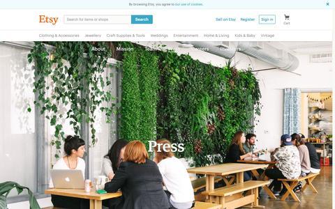 Screenshot of Press Page etsy.com - Etsy: Press - captured July 13, 2016