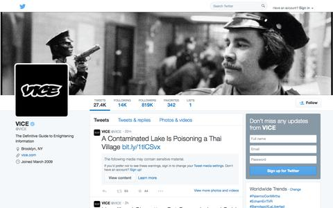 Screenshot of Twitter Page twitter.com - VICE (@VICE)   Twitter - captured Oct. 26, 2014