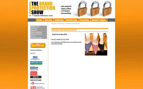 Screenshot of Press Page brandprotectionshow.com - :: THE BRAND PROTECTION SHOW :: - captured Oct. 1, 2014