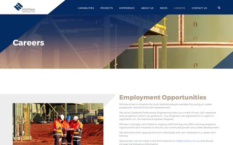 Screenshot of Jobs Page mintrex.com.au - Careers - focussing on career progression and technical skill development. - captured Sept. 21, 2018
