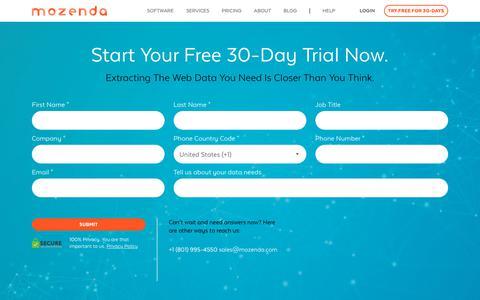 Screenshot of Trial Page mozenda.com - Trial – Mozenda - captured March 1, 2019
