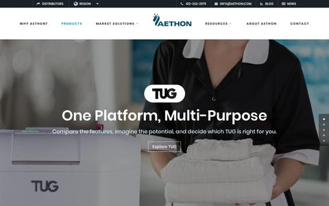 Screenshot of Products Page aethon.com - TUG Products. Aethon Robots. Manufacturing, Hospitality, Healthcare. - captured July 13, 2018