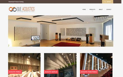 Screenshot of Products Page cueacoustic.in - Acoustic Panels | Acoustic Foam | Acoustic Partitions & Doors | Cue Acoustic | India - captured Oct. 28, 2014