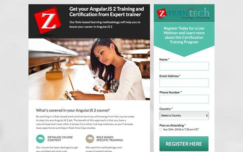 Screenshot of Landing Page zarantech.com - Expert Webinar: Angular JS 2 Training and Certification - captured Sept. 19, 2018