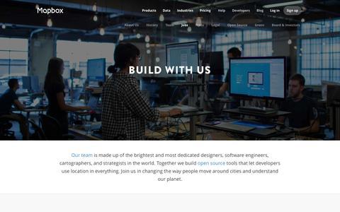 Screenshot of Jobs Page mapbox.com - Jobs | Mapbox - captured Oct. 21, 2015
