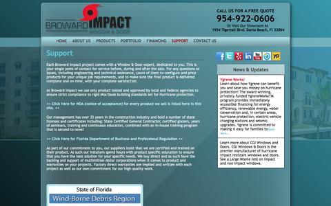 Screenshot of Support Page browardimpact.com - broward impact windows - captured Feb. 8, 2016