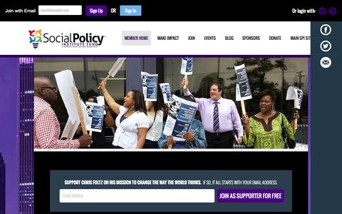 Screenshot of Signup Page socialpolicyinstitute.org - Social Policy Institute Fund - captured Sept. 30, 2014