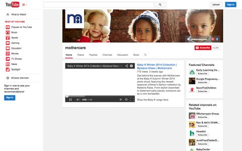 Screenshot of YouTube Page youtube.com - mothercare  - YouTube - captured Oct. 29, 2014