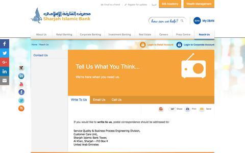 Screenshot of Contact Page sib.ae - Reach Us | Sharjah Islamic Bank - captured June 23, 2017