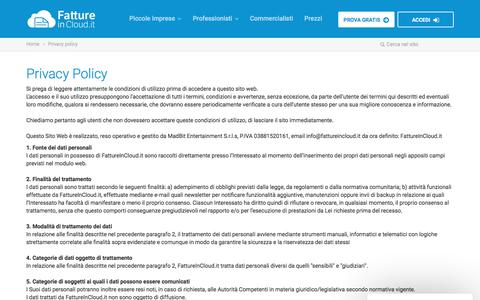 Screenshot of Privacy Page fattureincloud.it - Privacy policy | Fatture in Cloud - captured Aug. 12, 2018