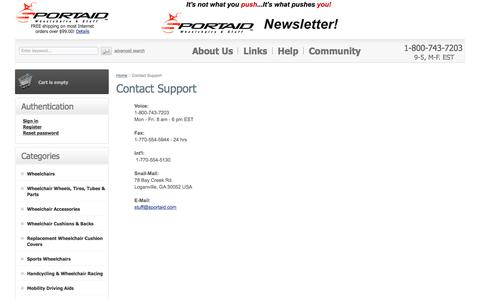 Screenshot of Support Page sportaid.com - Contact Sportaid Staff to get expert help! - captured Nov. 1, 2017