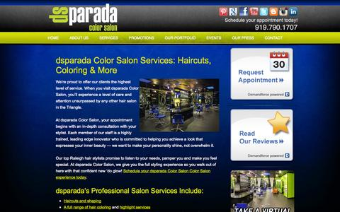 Screenshot of Services Page dsparada.com - Salon Services Raleigh, NC | Haircuts & Hair Coloring | dsparada | DS Parada Color Salon - captured Oct. 5, 2014