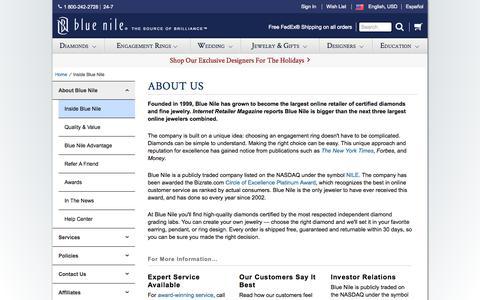 Screenshot of About Page bluenile.com - Inside Blue Nile | Blue Nile - captured Nov. 12, 2015