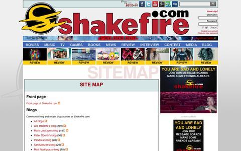 Screenshot of Site Map Page shakefire.com - Site map : Shakefire.com - captured Sept. 18, 2014
