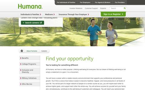 Screenshot of Jobs Page humana.com - Careers at Humana - captured Sept. 18, 2014