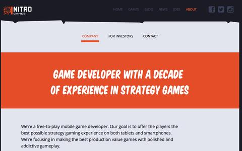 Screenshot of About Page nitrogames.com - About Nitro Games - captured Oct. 7, 2014