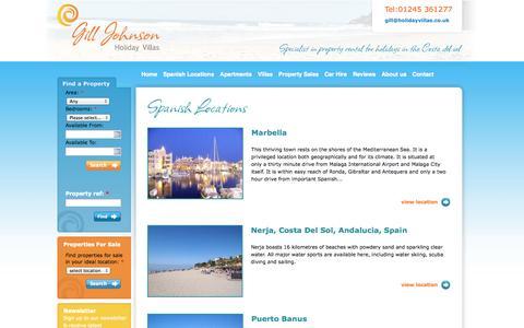 Screenshot of Locations Page nerjaholidayvillas-apartments.com - Spanish Locations | Gill Johnson - captured Oct. 2, 2014