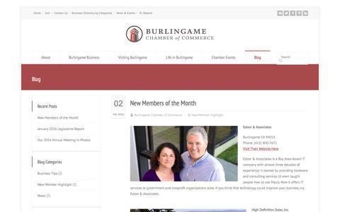 Screenshot of Blog burlingamechamber.org - Blog - Burlingame Chamber of Commerce - captured Feb. 8, 2016