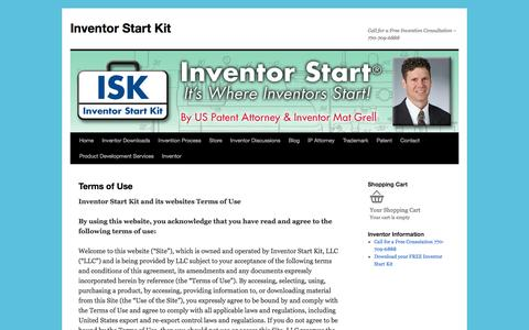 Screenshot of Terms Page inventorstartkit.com - Terms of Use | Inventor Start Kit - captured Aug. 6, 2016