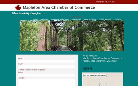 Screenshot of Contact Page mapletonchamber.com - Contact Us - captured Sept. 30, 2017
