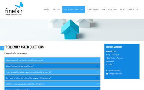 Screenshot of FAQ Page finefair.com - Frequently Asked Questions | Lettings London | Finefair Ltd - captured Oct. 13, 2017