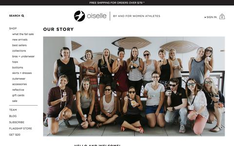 Screenshot of About Page oiselle.com - Our Story   Oiselle Running Apparel for Women - captured Sept. 23, 2018