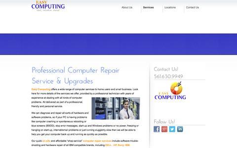 Screenshot of Services Page easycomputinginc.com - Computer Service and Repair   Easy Computing - captured Feb. 3, 2016