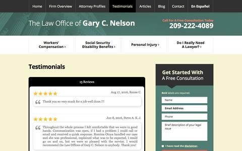 Screenshot of Testimonials Page gcnelsonlaw.com - Testimonials | The Law Office of Gary C. Nelson | Modesto, CA - captured July 19, 2017