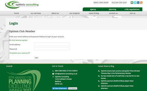 Screenshot of Login Page optimis-consulting.co.uk - Login - The Optimis Group   Town Planning   Housing Development - captured Oct. 21, 2017