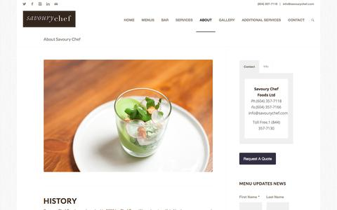 Screenshot of About Page savourychef.com - About Our Business | Savoury Chef Foods, Vancouver BC - captured Oct. 6, 2017