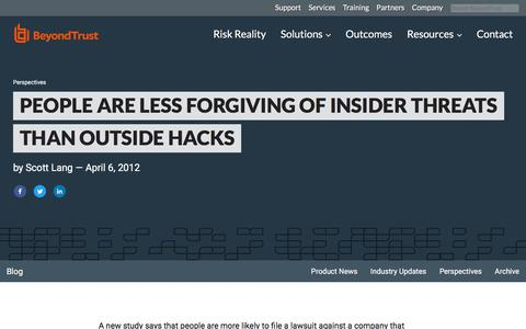Screenshot of Team Page beyondtrust.com - People are Less Forgiving of Insider Threats than Outside Hacks | BeyondTrust - captured Jan. 3, 2020