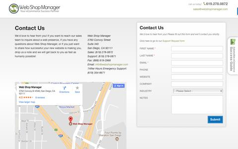 Screenshot of Contact Page webshopmanager.com - Web Shop Manager - Contact Information - captured Aug. 22, 2017