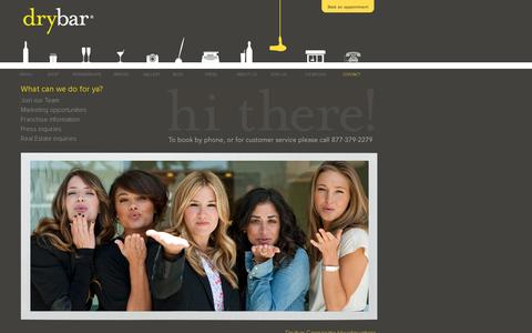 Screenshot of Contact Page thedrybar.com - Contact Us With Your Questions - Drybar, The Premier Blow Out Bar - captured July 19, 2014