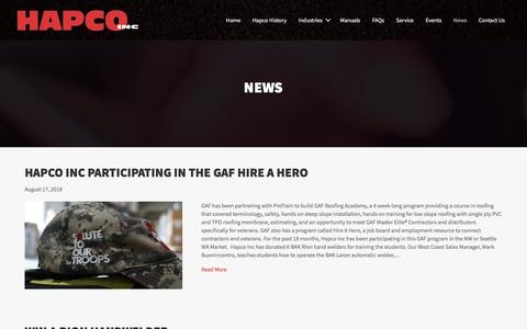 Screenshot of Press Page hapcoinc.com - Hapco Inc News | Hapco Inc. - captured Sept. 25, 2018